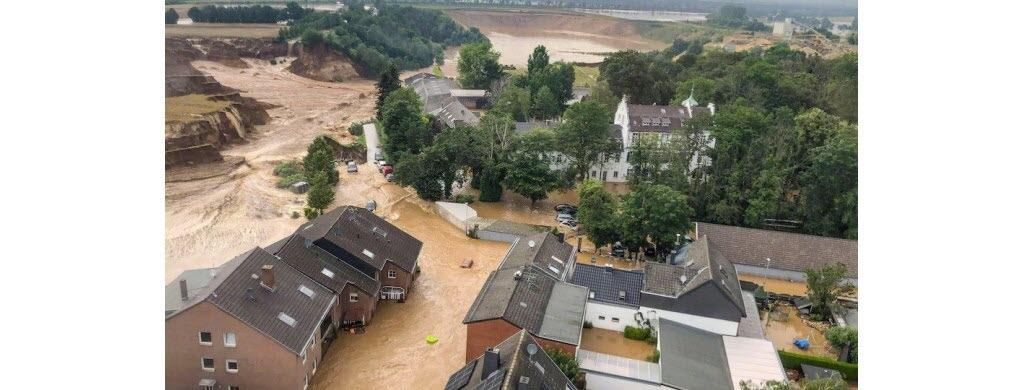 Erfstadt-Blessem, en Allemagne, a été complètement défigurée. (Photo AFP)