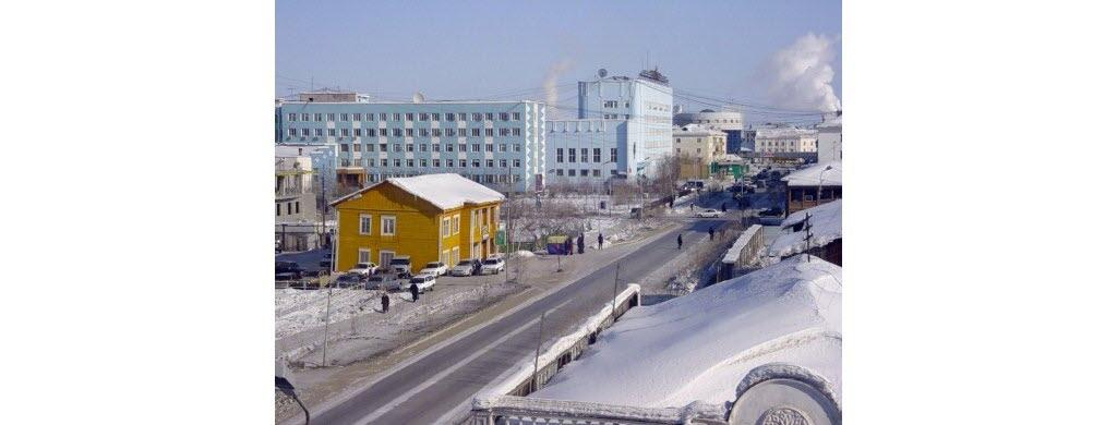La ville d'Iakoutsk, dans la République de Sakha, en Russie.