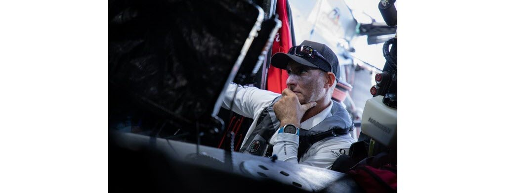 Jérémie Beyou, 44 ans, à bord de son monoque Charal. (photo © Gauthier Lebec/Charal Sailing Team)