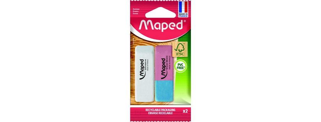 La gomme dessin Maped, fabriquée en France, est composée de caoutchouc naturel, issu de la sève de l'hévéa. Elle est vendue dans une nouvelle enveloppe en papier, entièrement recyclable.