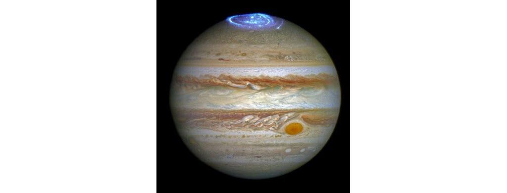 Des aurores polaires sur Jupiter. (NASA/ESA)